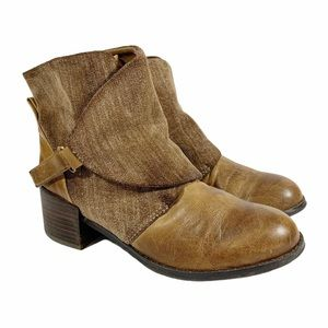 Antelope Leather Wrap Detail Boho Ankle Boots